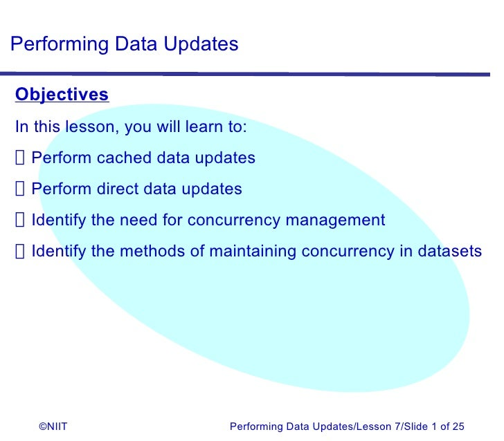 Performing Data UpdatesObjectivesIn this lesson, you will learn to:Perform cached data updatesPerform direct data updatesI...