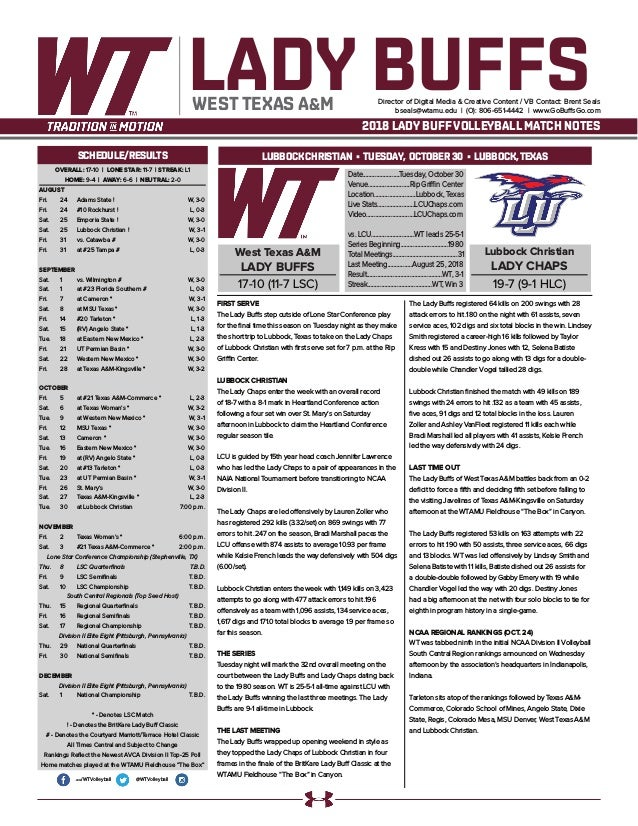 WT Volleyball Match Notes (10-29-18)