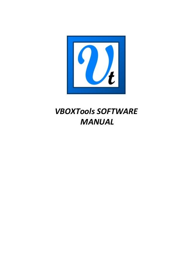 VBOXTools SOFTWARE MANUAL