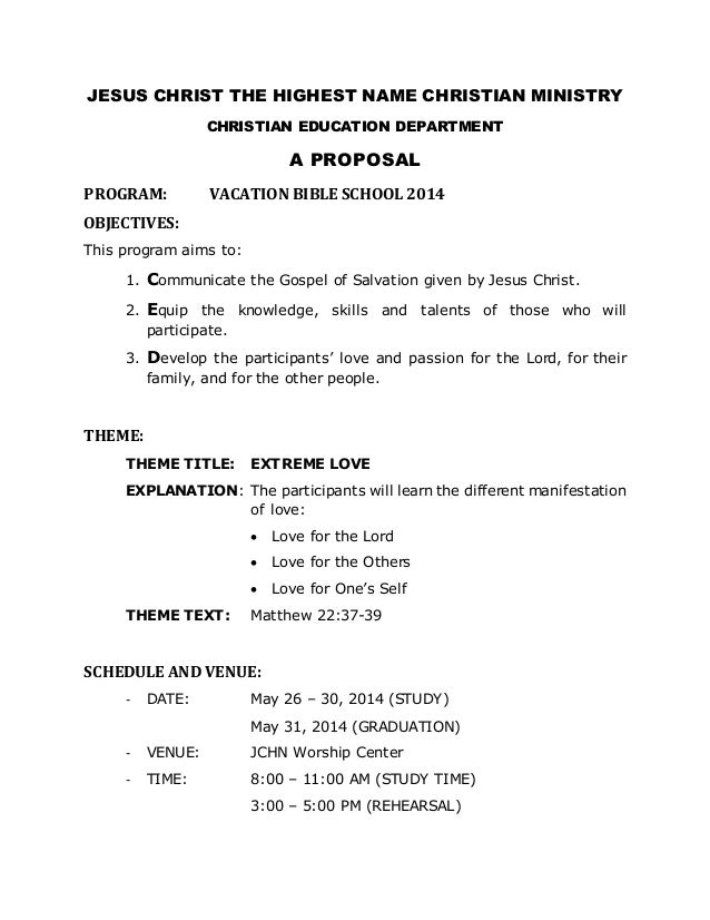 Vbs 2014 Proposal For Church