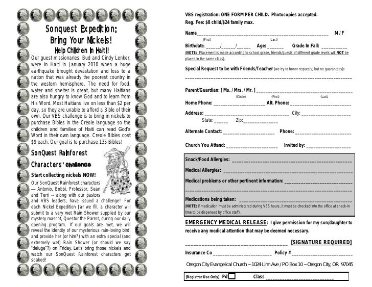 VBS Registration ONE FORM