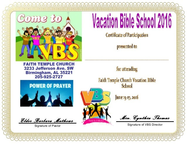 vbs certificate child