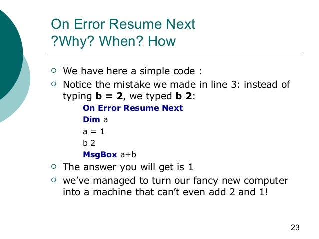 Visual Basic Net On Error Resume Next Error Handling In Asp Net