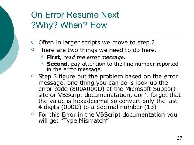 vbscript on error resume next err number 28 images vbs
