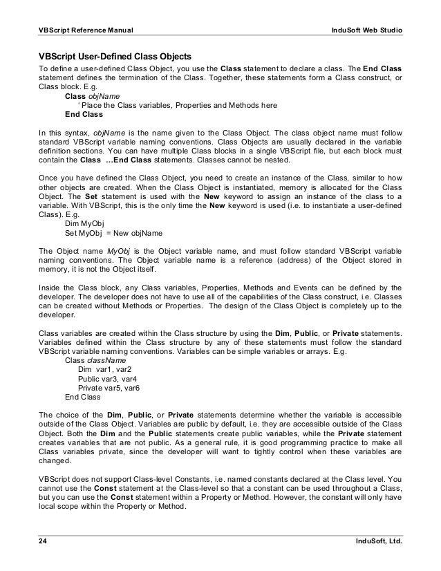 Cimplicity Vb script manual
