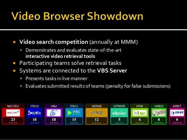 Video Browser Showdown 2018 Slide 2