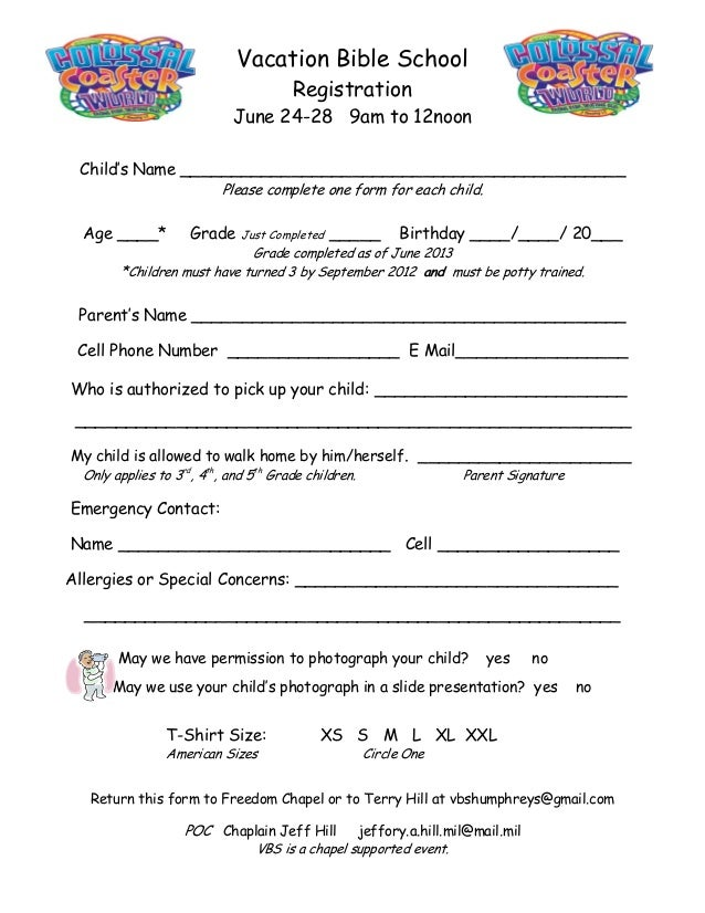vbs registration form for camp humphrey 39 s freedom chapel. Black Bedroom Furniture Sets. Home Design Ideas