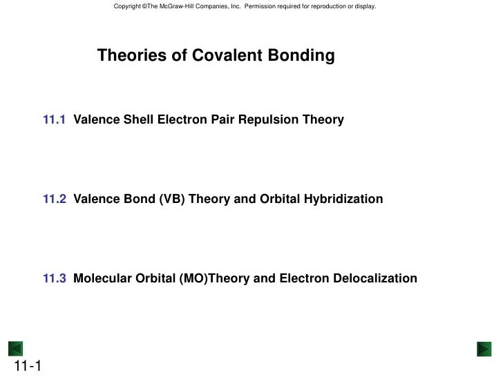 Theories of Covalent Bonding<br />11.1  Valence Shell Electron Pair Repulsion Theory<br />11.2  Valence Bond (VB) Theory a...