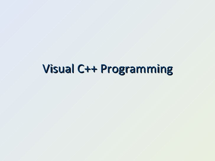Visual C++ Programming