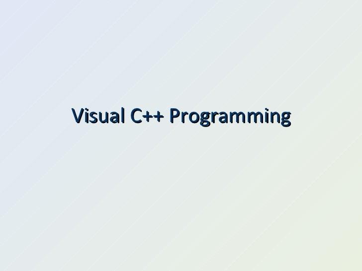 Visual C++ Programming