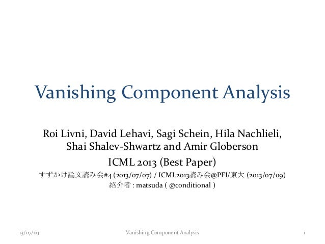 Vanishing Component Analysis Roi Livni, David Lehavi, Sagi Schein, Hila Nachlieli, Shai Shalev-Shwartz and Amir Globerson ...
