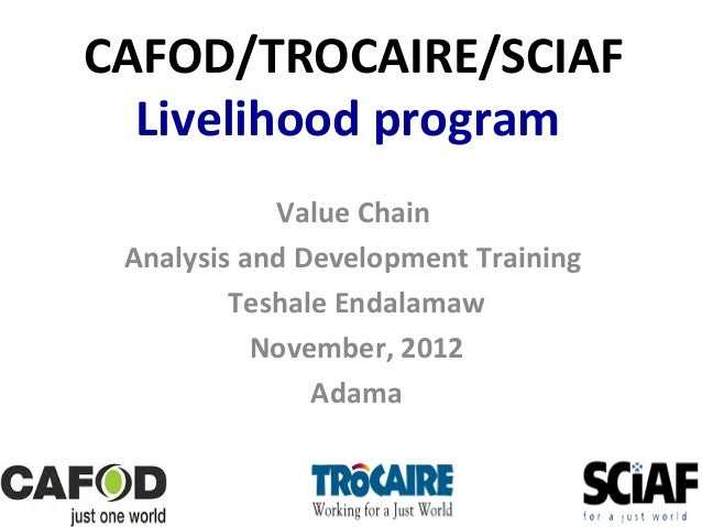 CAFOD/TROCAIRE/SCIAF Livelihood program Value Chain Analysis and Development Training Teshale Endalamaw November, 2012 Ada...