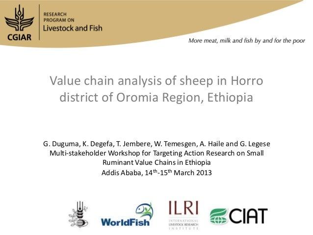 Value chain analysis of sheep in Horro  district of Oromia Region, EthiopiaG. Duguma, K. Degefa, T. Jembere, W. Temesgen, ...