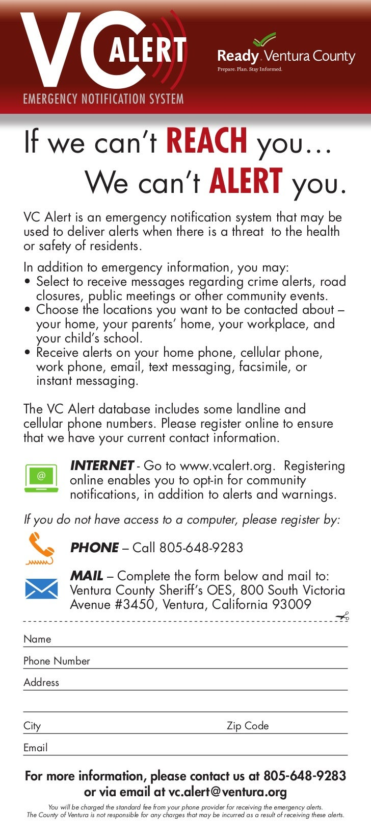 VC VCIf we can't REACH you…       ALERT          ALE     We can't ALERT you.VC Alert is an emergency notification system t...