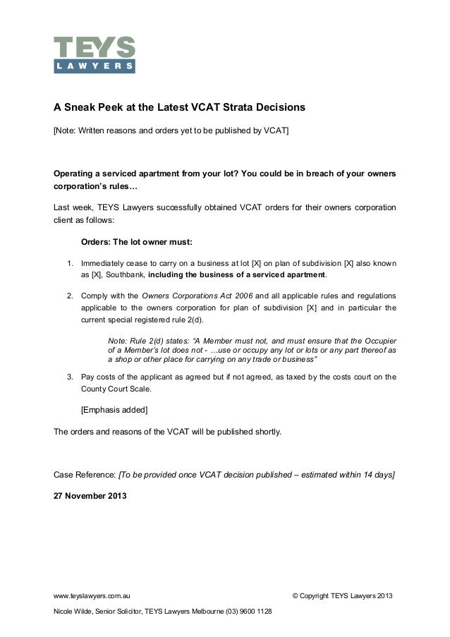 !  A Sneak Peek at the Latest VCAT Strata Decisions [Note: Written reasons and orders yet to be published by VCAT]  Operat...