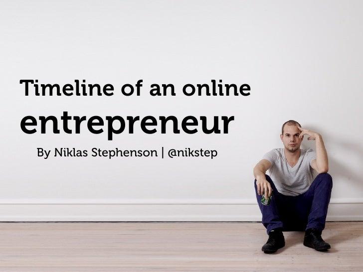 Timeline of an online entrepreneur  By Niklas Stephenson | @nikstep
