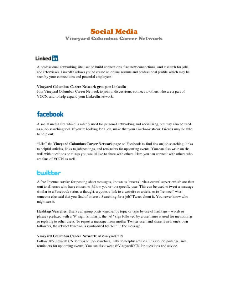 Social Media Vineyard Columbus Career NetworkA Professional Networking Site  Used To Build ...