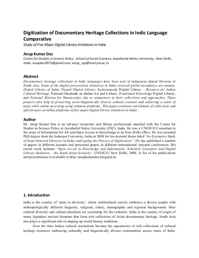 Digitization  of  Documentary  Heritage  Collections  in  Indic  Language   Comparative     Study  o...