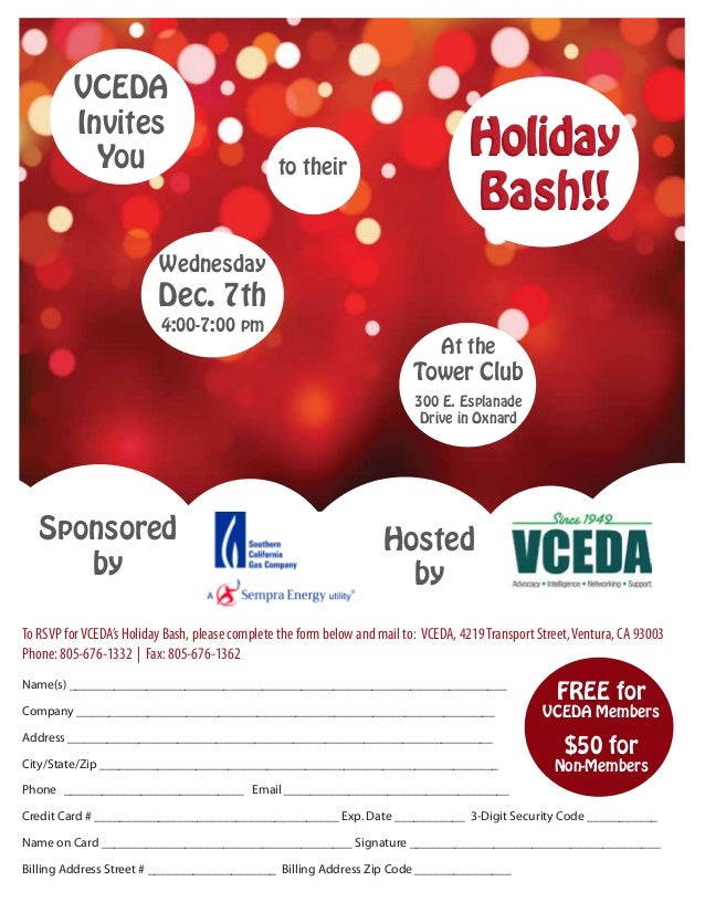 to their VCEDA Invites You Wednesday Dec. 7th 4:00-7:00 pm Hosted by At the Tower Club 300 E. Esplanade Drive in Oxnard Ho...