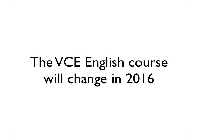 VCE New Texts For 2015 Introduction