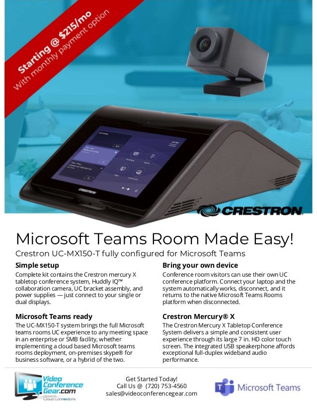 Microsoft Teams Room Made Easy! Crestron UC-MX150-T fully configured for Microsoft Teams Simple setup Complete kit contain...