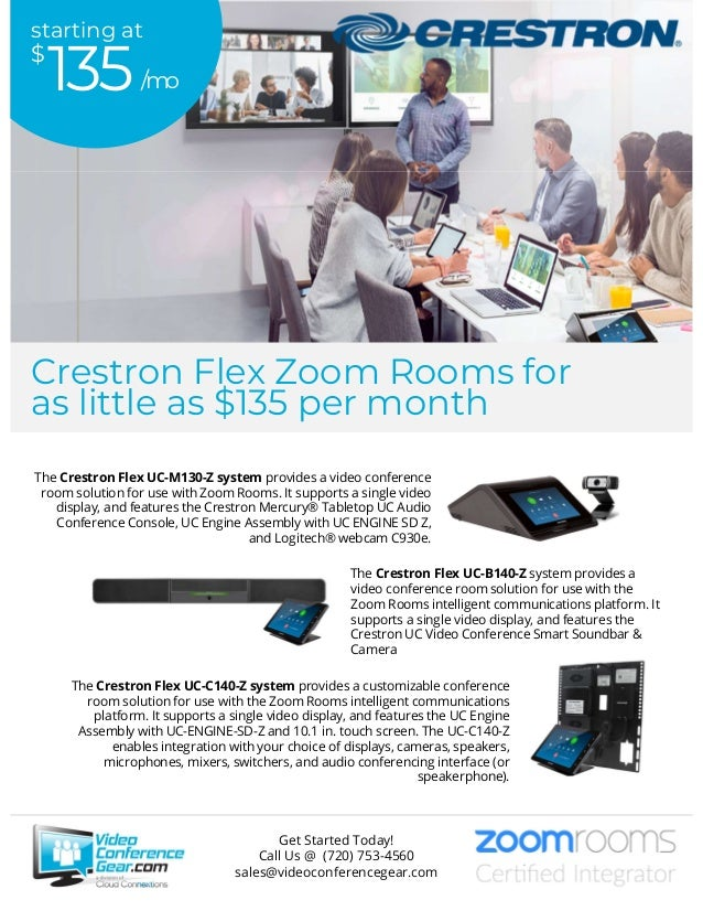 The Crestron Flex UC-M130-Z system provides a video conference room solution for use with Zoom Rooms. It supports a single...