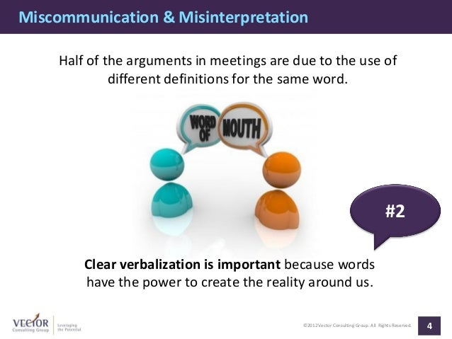 Miscommunication & Misinterpretation     Half of the arguments in meetings are due to the use of              different de...