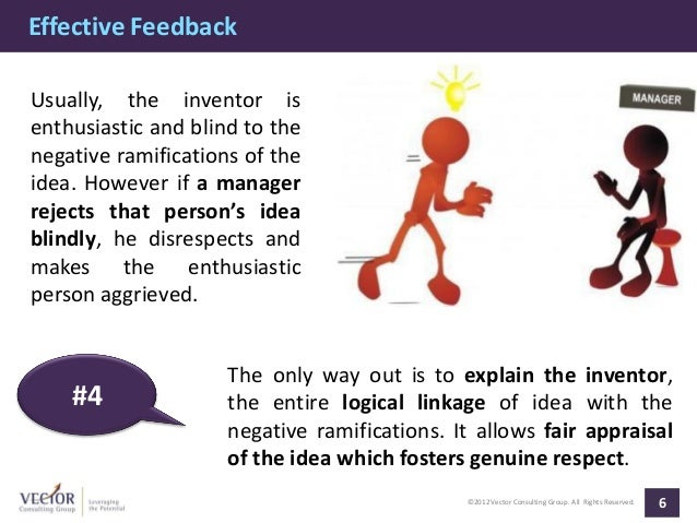 Effective FeedbackUsually, the inventor isenthusiastic and blind to thenegative ramifications of theidea. However if a man...