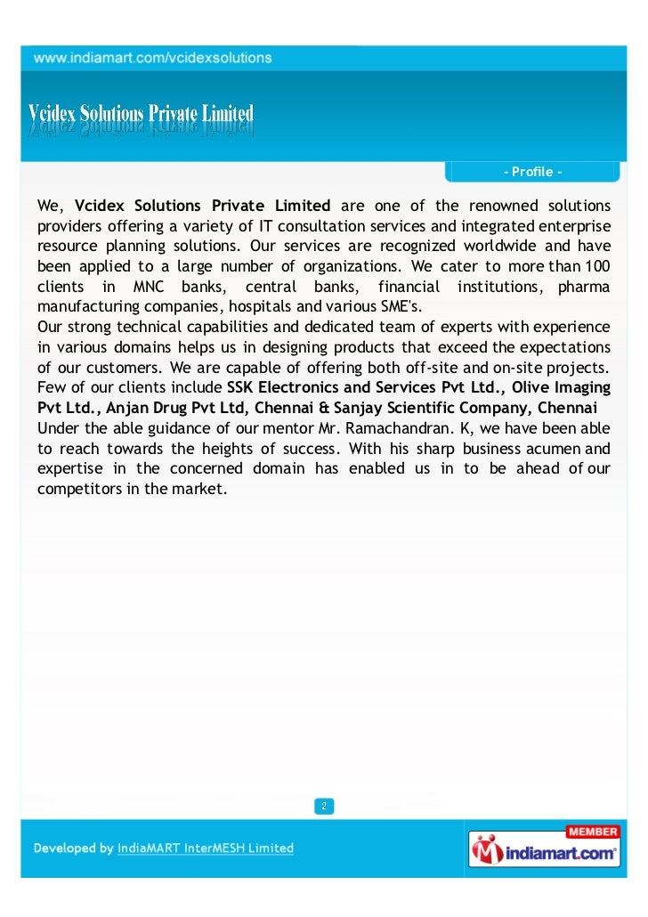 Vcidex Solutions Private Limited,  Chennai, IT consultation services Slide 2