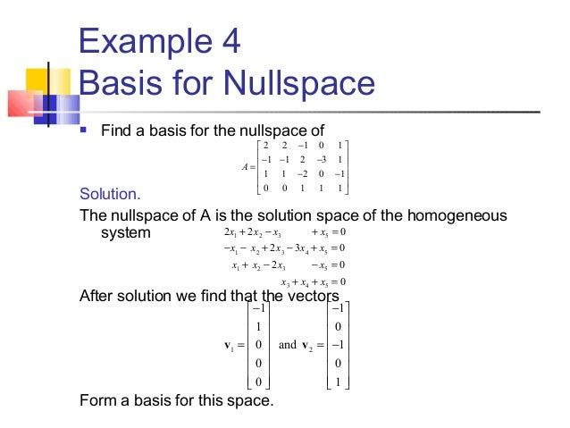 How To Find Null Space Of A Matrix