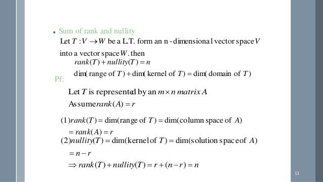 how to find rank and nullity of linear transformation