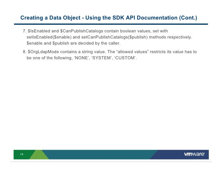 Creating a Data Object - Using the SDK API Documentation (Cont.)   7. $IsEnabled and $CanPublishCatalogs contain boolean v...