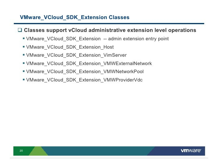 VMware_VCloud_SDK_Extension Classes       Classes support vCloud administrative extension level operations      VMware_VCl...
