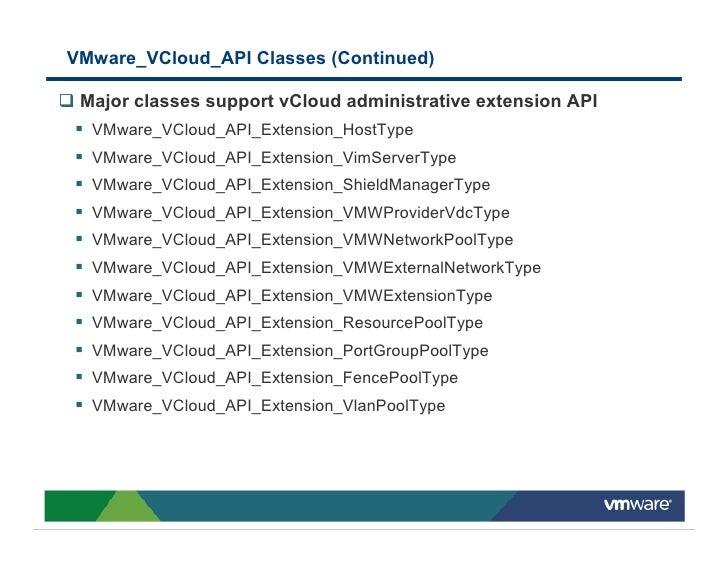 VMware_VCloud_API Classes (Continued)   Major classes support vCloud administrative extension API   VMware_VCloud_API_Exte...