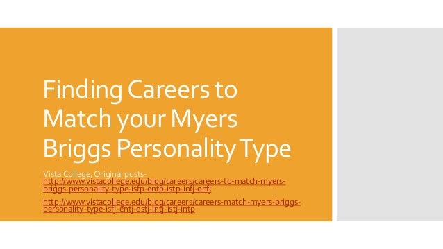 Matches myers briggs personality Careers to