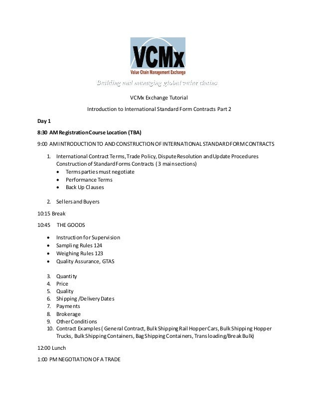 Vcmx International Standard Form Contracts Training Part1