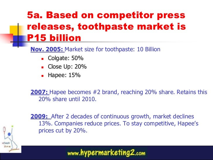 marketing plan of hapee toothpaste Marketing and promotional strategies of hapee toothpaste  their marketing team develops and implements marketing plans that  all colgate's darkie toothpaste.