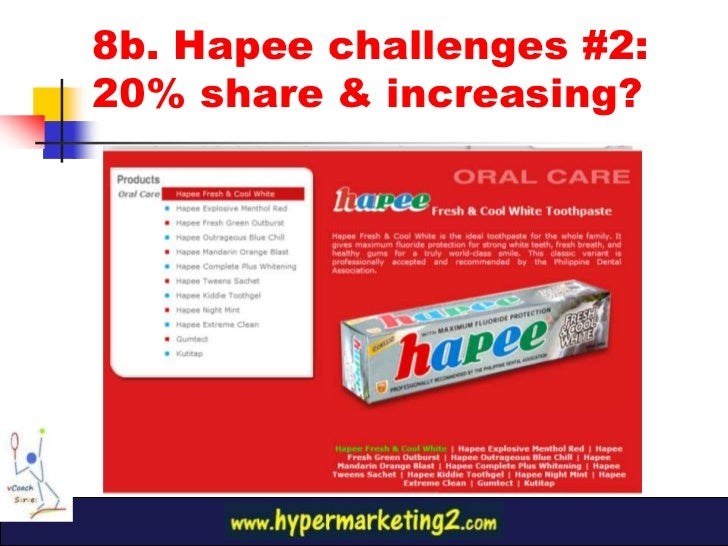 marketing plan of hapee toothpaste Several concepts by manilla based vgrafiks design + branding for the hapee toothpaste range: hip and clean playfulness freshly delivered in a toothpaste box.