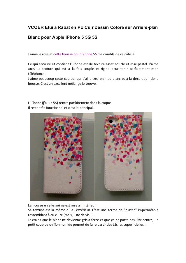 VCOER Etui à Rabat en PU Cuir Dessin Coloré sur Arrière-plan Blanc pour Apple iPhone 5 5G 5S J'aime le rose et cette houss...