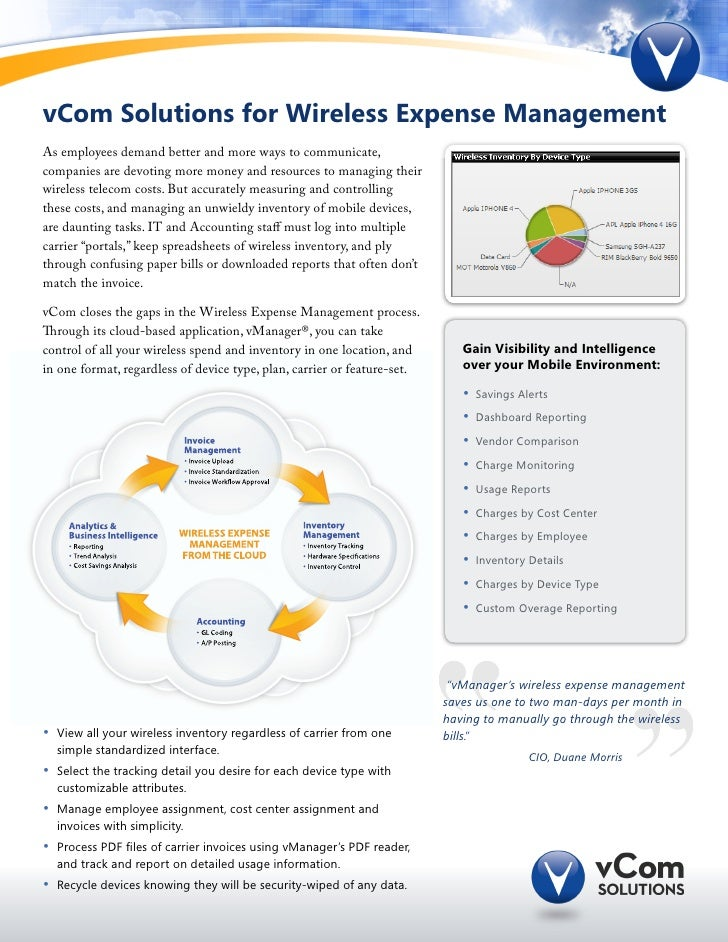 vCom Solutions for Wireless Expense ManagementAs employees demand better and more ways to communicate,companies are devoti...