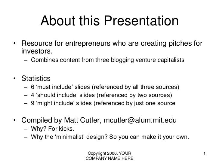 vc pitch - presentation template (the 10/20/30 rule of powerpoint), Outline Presentation Template, Presentation templates