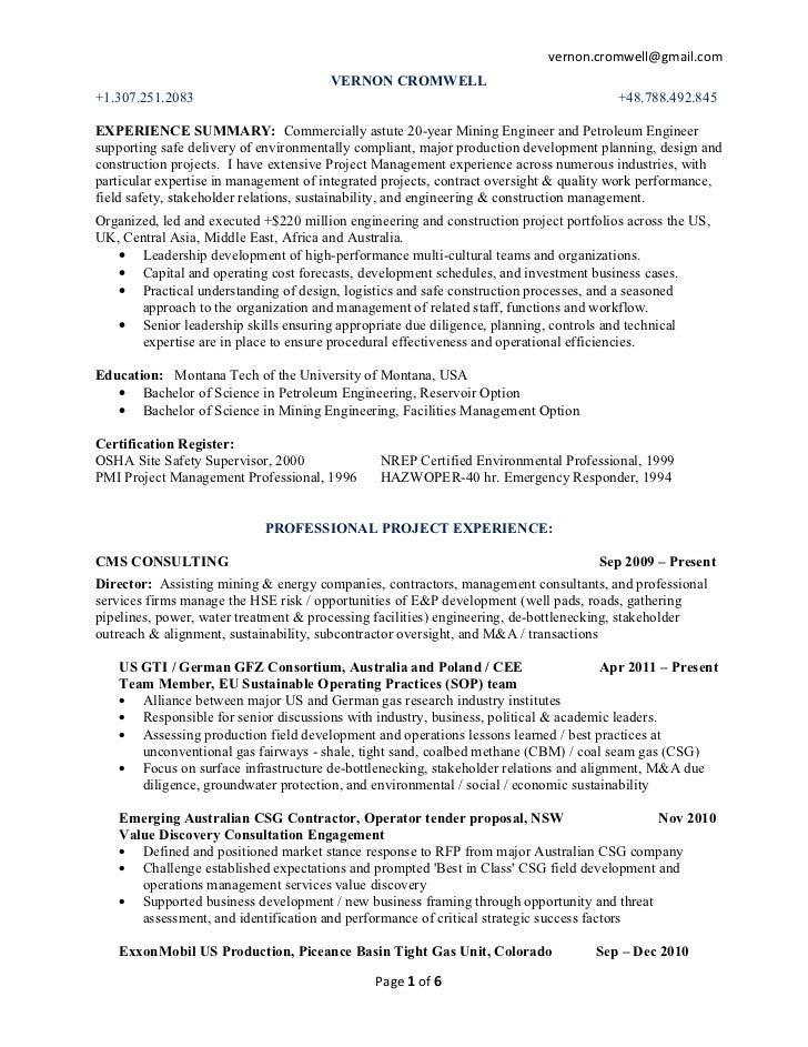 v cromwell linked in resume