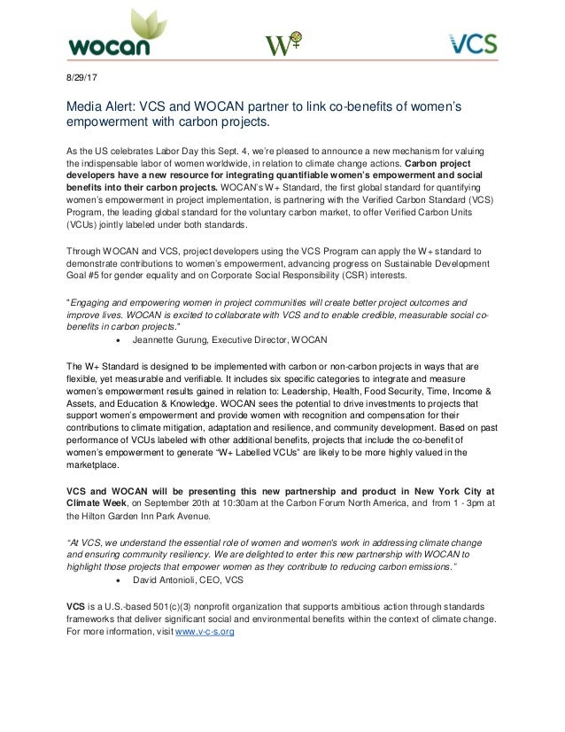 8/29/17 Media Alert: VCS and WOCAN partner to link co-benefits of women's empowerment with carbon projects. As the US cele...