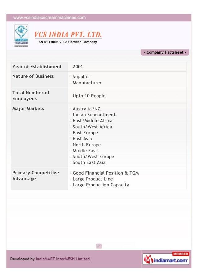 - Company Factsheet -Year of Establishment   2001Nature of Business      Supplier                        ManufacturerTotal...