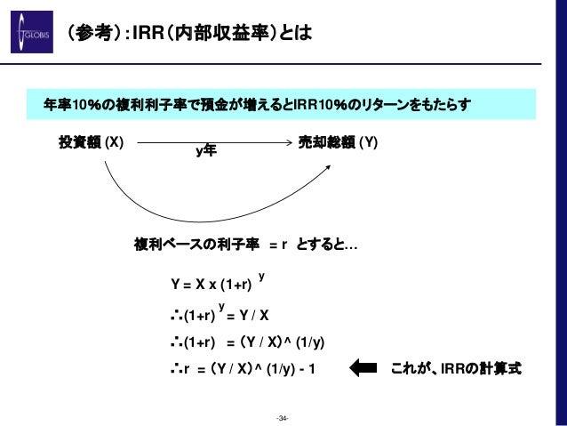 (参考):IRR(内部収益率)とは -34- 投資額 (X) 売却総額 (Y) 複利ベースの利子率 = r とすると… Y = X x (1+r) y ∴(1+r) = Y / X y ∴(1+r) = (Y / X)^ (1/y) ∴r = ...