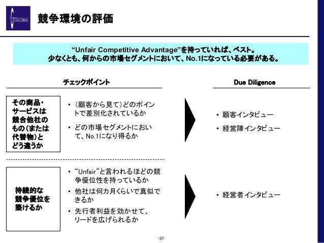 """競争環境の評価 -57- """"Unfair Competitive Advantage""""を持っていれば、ベスト。 少なくとも、何からの市場セグメントにおいて、No.1になっている必要がある。 持続的な 競争優位を 築けるか • (顧客から見て)ど..."""