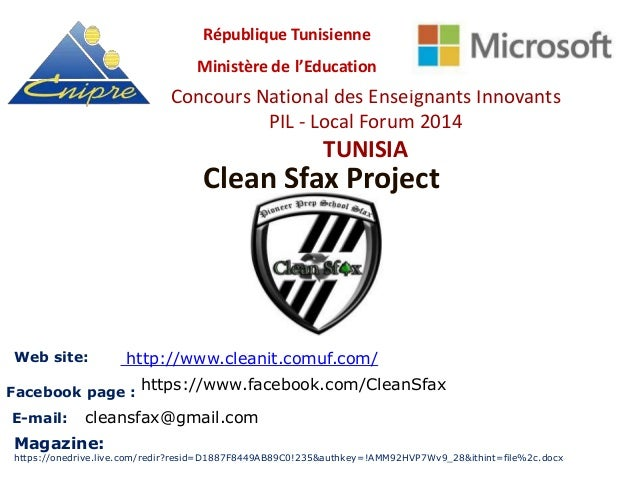 Clean Sfax Project Concours National des Enseignants Innovants PIL - Local Forum 2014 TUNISIA République Tunisienne Minist...