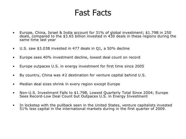 Fast Facts <ul><li>Europe, China, Israel & India account for 31% of global investment; $1.79B in 250 deals, compared to th...