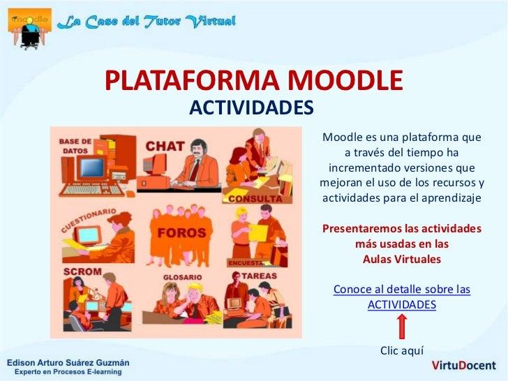 PLATAFORMA MOODLE    ACTIVIDADES                  Moodle es una plataforma que                       a través del tiempo h...