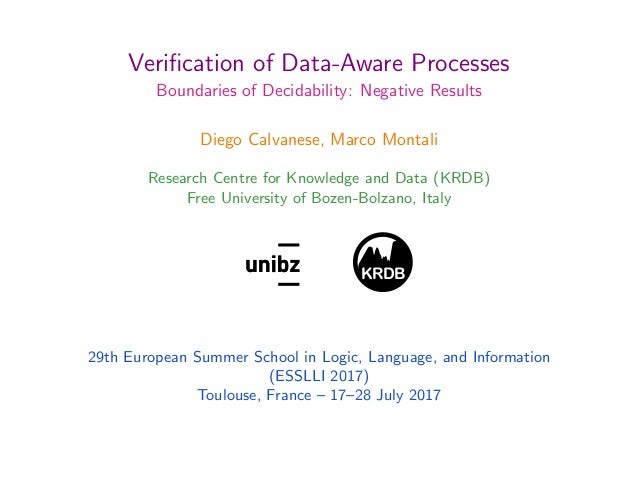 Verification of Data-Aware Processes Boundaries of Decidability: Negative Results Diego Calvanese, Marco Montali Research C...